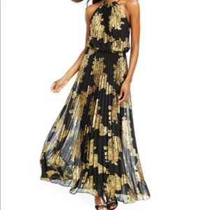NWT! Xscape Gold & Navy Pleated Dress NWT